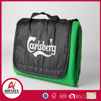 Branded prootional gift picnic blanket, Polar fleece logo printed pince mat, Low price promotional waterproof blanket