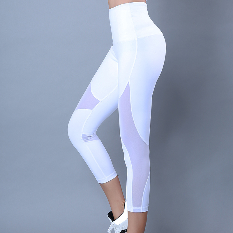 New Coming Unique Women High Waist High Stretch Mesh Yoga Pants White Yoga Pants Sex
