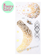 Gold & Silver feather design Metallic Temporary Tattoos LH-020gold