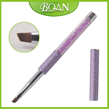 2016 BQAN Latest Crystal Gorgeous Color Nylon Hair Nail Art Brush Oblique Gel Brush With Embossed Metal Handle