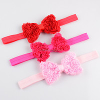 Magnetic Chiffon Rosette Bow Elastic Headband,Bouquet Rose Flower Kid Headband
