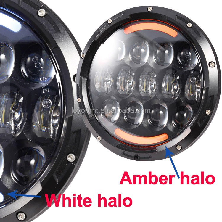 LOYO 7'' 105W round High/Low Beam LED Headlight For Jeep Wrangler with angle eyes