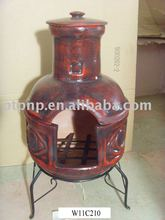 clay chimenea with metal stand and fire shelf