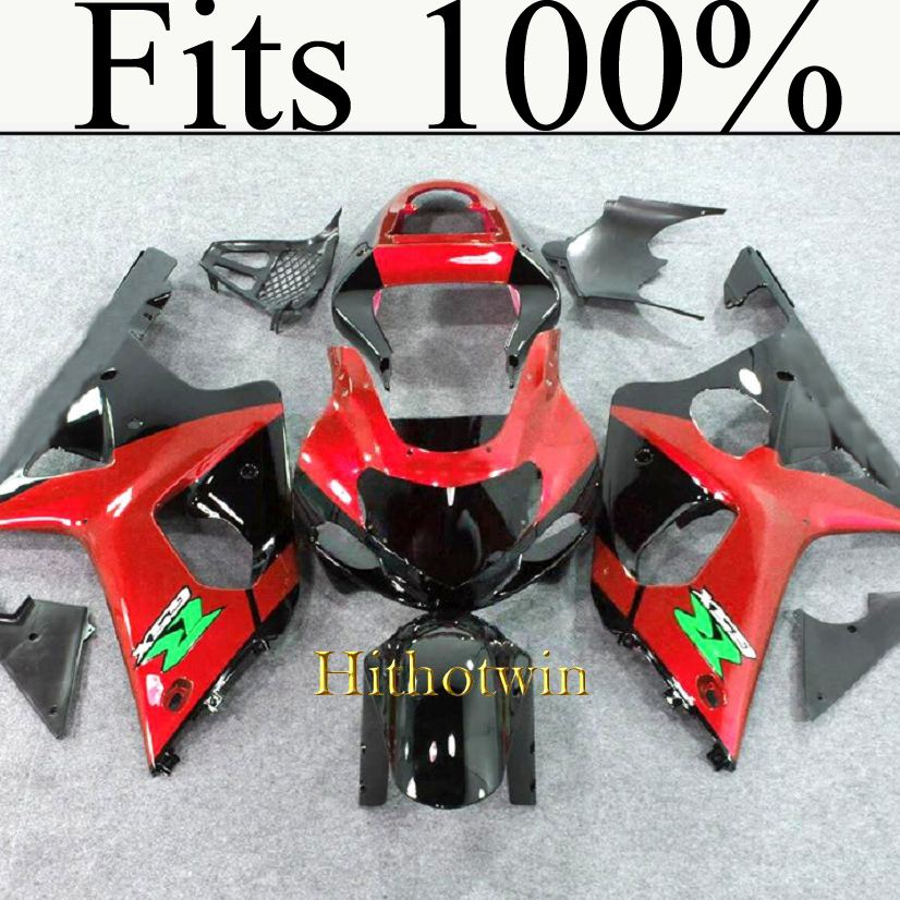 Fits 100%!! INJ Fairing 2000 2001 2002 GSXR 1000 red black Fairing For Suzuki GSXR1000 2000 2001 2002 Bodywork Kit Set Fit