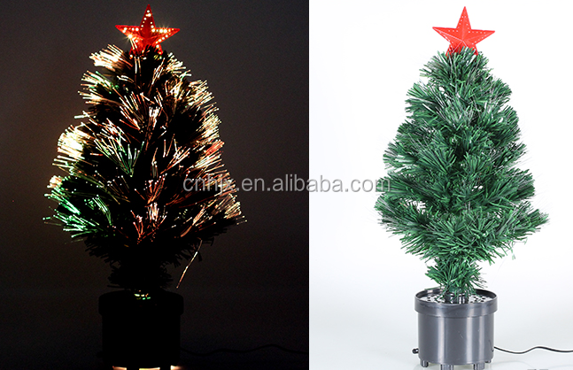 Plastic Stand Flower Pot Tabletop Top Star Fiber Optic Christmas, Garden PotChristmas Trees
