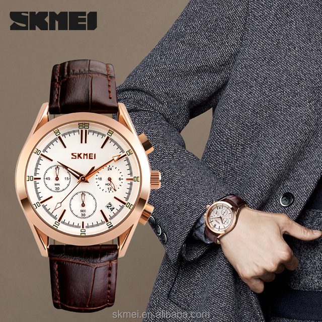 Online shopping for men watches rose gold case leather quartz watch