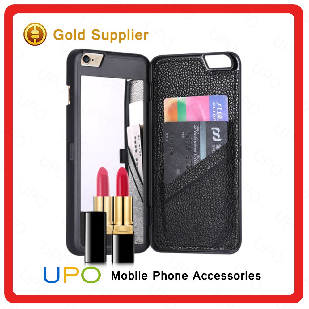 [UPO] Luxury Lady Cosmetic Mirror Dual Layer with PU Leather Card Slot Make up Cell Phone Case for iPhone 6 6s Plus