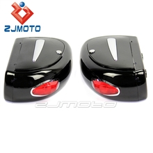 ZJMOTO ABS Motorcycle Rear Tail Box Case Side Luggage Cases Fit To Harley Custom Road King Roadster