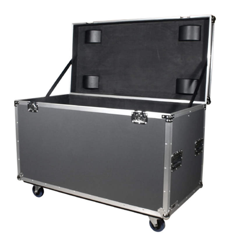 Fireproof Plywood Grey Hard Flight Case Truck Pack Trunk Case with Casters