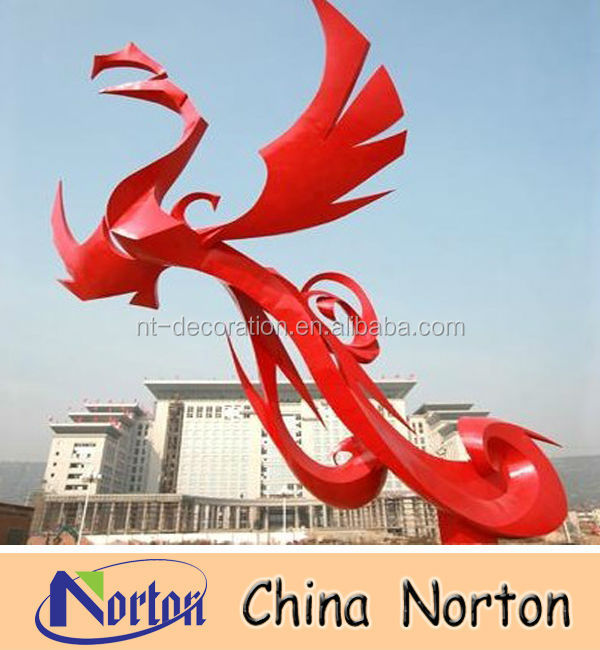colored flying stainless steel phoenix statue NTS-138