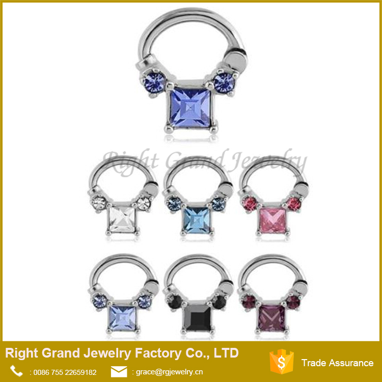 316L Surgical Steel Square CZ Nose Clicker Hinged Steel Septum Ring