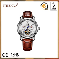 [Leinuoda] factory oem fashion lady genuine leather mechanical movement watch stainless steel case and band watch