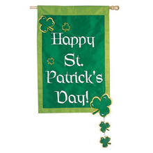 "Wholesale Durable Hoom Door Decoration Happy St. Patrick's Day 2-Sided Painting Garden Flag Size: 28"" H x 52"" W"
