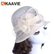 Wholesale woman sinamay solid color party wedding hat fashion lady cloche church hat with lace