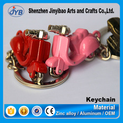 So cute pink small bike keychain metal motorcycle keyring with logo
