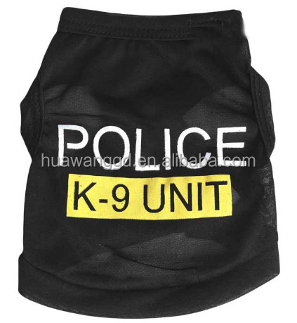 pet accessories black dog tank top with letter police