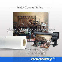 "Hot- Factory supply 400gsm glossy cotton canvas waterproof inkjet canvas in roll size 24"" 36"" 42""x18m/30m"