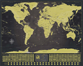 "Deluxe Scratch Off World Map Poster Black and Gold with Silver Mountains and Real Sea Bottom 33""x23"""