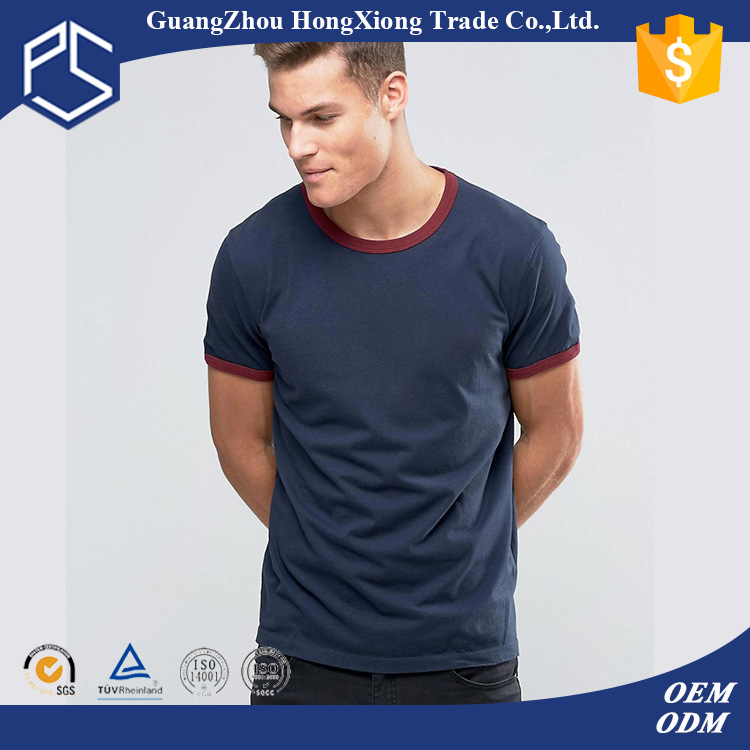 China Factory Hongxiong Latest Style 180 Grams Short Sleeve Round Neck Cotton Blue Red Cuff Plain Men Fake Designer T-Shirt