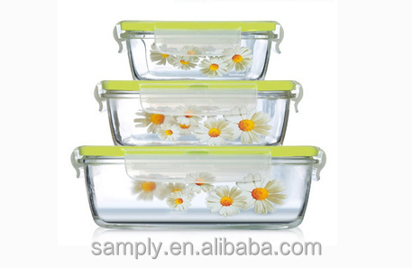 China cheap square and rectangular glass food container with lock lid storage
