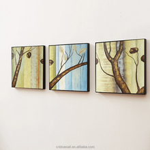 Popular modern tree handmade oil painting decoration plant on canvas 3 panel canvas wall art