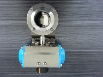 Stainless steel sanitary 304 electric actuator clamped butterfly valve with double bracket