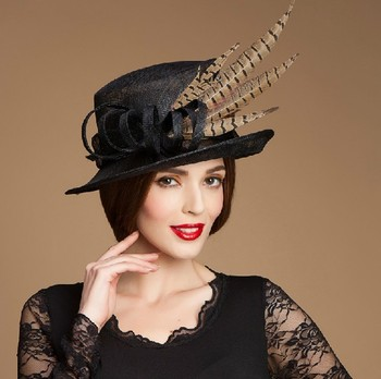 China factory party hat ladies designer black ladies church hats for sale