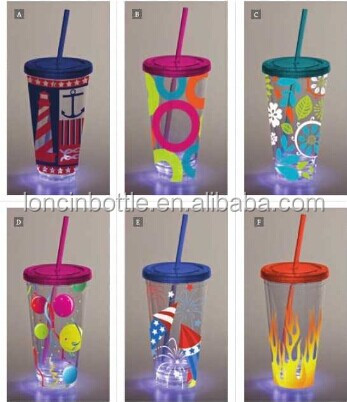 16oz Flashing LED Tumbler with Straw, 16oz insulated cup with led light,led flashing tumbler with clear straw
