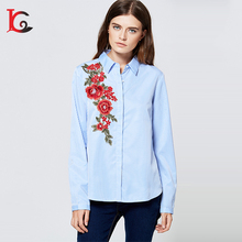 2017 bulk cheap china wholesale clothing ladies stripe embroidery blouse woman long sleeve spring new design normal blouse
