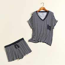 DM 664 Wholesale navy ladies springy loungewear with pocket short sports wear V neck modal stripe big size pyjama sets