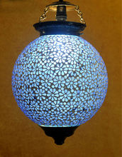 Decorative Outdoor Hanging Light Pendant Ceiling Light Lampshade Glass Blue 12 Inches