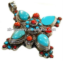 India cross turquoise pendant