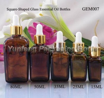 Square Amber Essential Oil Bottle With Dropper