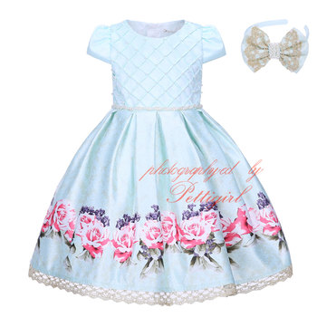 fall bishop readymade flower cloth garments teenage party dress for girls kids