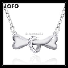 2016 New Hot Sell Fashion Dog Bone Unisex Silver Plated 18 Inches Link Chain Pendant Necklace
