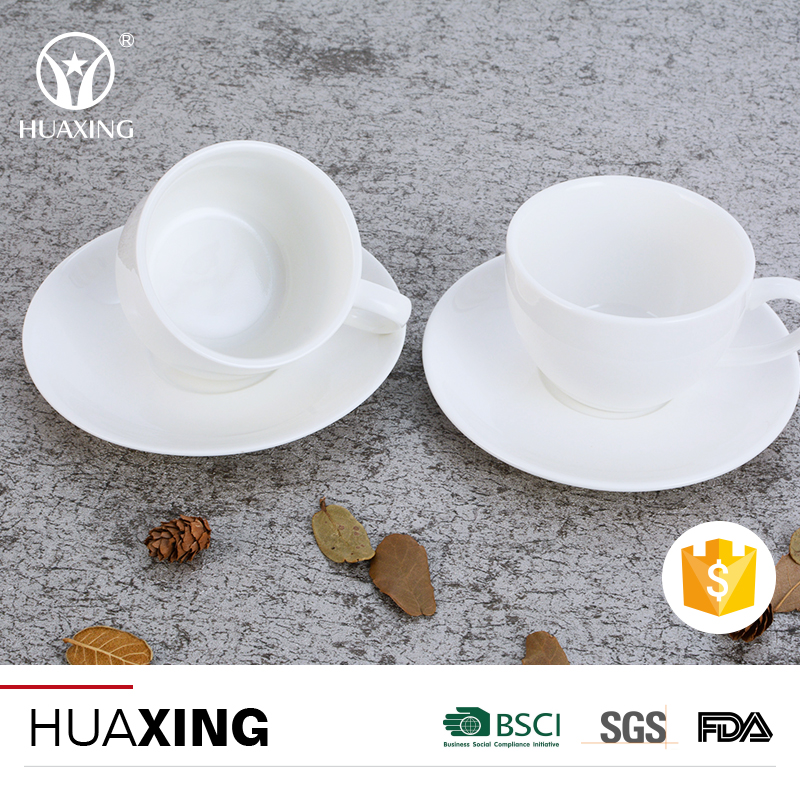Durable porcelain ceramic coffee mugs plates cups with different size