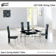 Stainless steel mirrored dining table and chair with glass