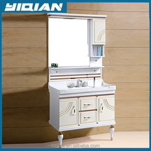 Wholesale UK Style Latest Design with Bright Color Floor Mounted PVC Bathroom Vanity