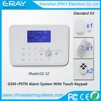 LCD display touch keypad GSM +PSTN home security alarm with motion sensor infrared remote APP control