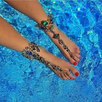 Wholesale Fashion Stone Body Jewelry 2019 Beach Barefoot Sandals Anklets Colorful Crystal Anklets With Toe Ring