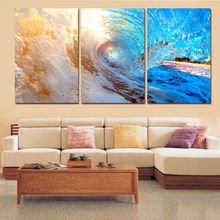 3 Panel Canvas Wall Art Surfing Seascape Prints for Living Room Decor