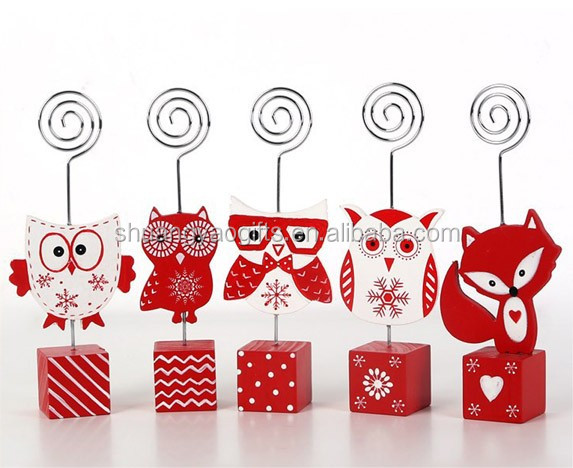 Wooden owls namecard holder decoration,christmas wooden fox on desk memo clips xmas gifts for home decoration