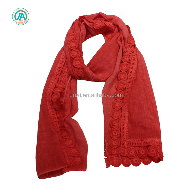 Popular muslim design solid color red polyester cotton scarf