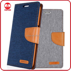 Factory Wholesale Woven PU Leather Flip Diary MERCURY Canvas Wallet Leather Case for Iphone 6 6s Plus Mobile Phone Cover