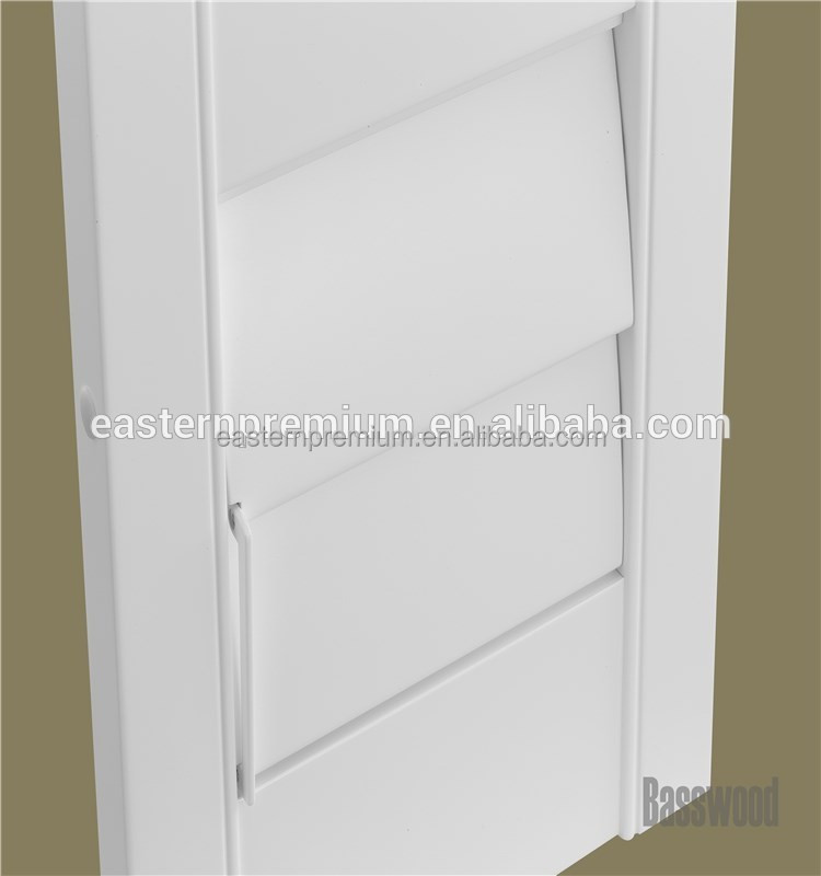 Door and window decoration basswood plantation shutter with adjustable louver and clearview bar