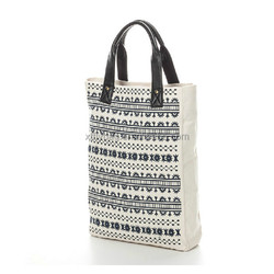 Canvas tote bag with pu handles
