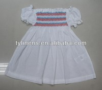 puffed short sleeve cotton girls smocked dresses