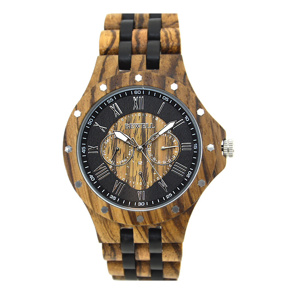 The Newest design and Eco-Friendly Handmade Bewell Wood Watch Natural bamboo watch