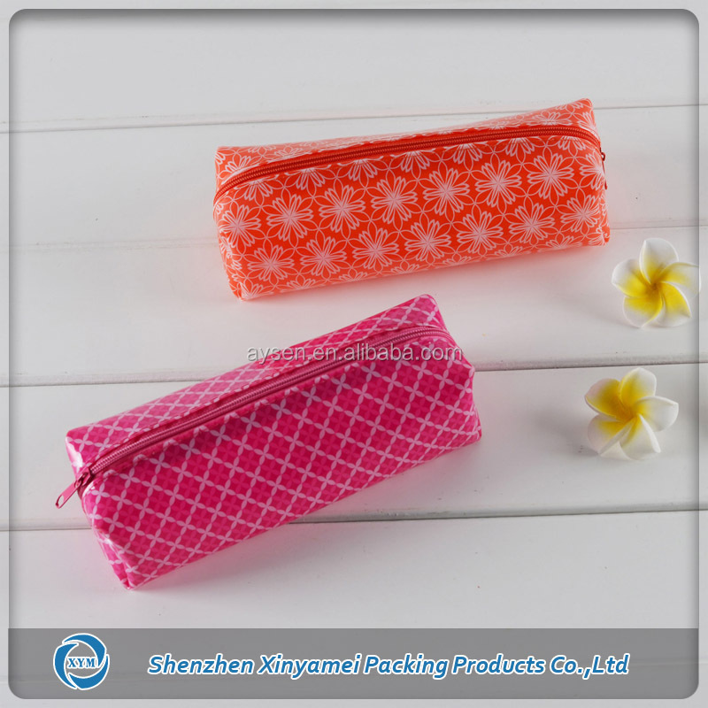 Accept Custom Order cute pvc cosmetics cylinder bag with #3 zip