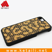 Hard plastic leather phone case for Apple iphone 5 5S (snake skin leather)